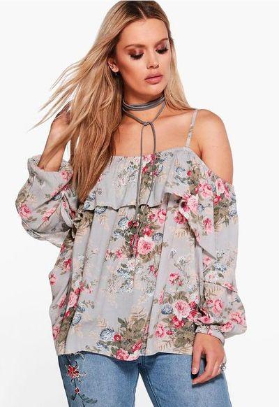 "<a href=""http://au.boohoo.com/plus-cally-floral-open-shoulder-top/PZZ91864.html?color=144"" target=""_blank"">Boohoo Plus Cally Floral Open Shoulder Top, $36.</a>"