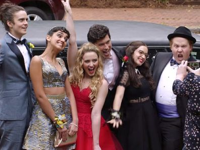 Teenagers on their way to prom movie Blockers
