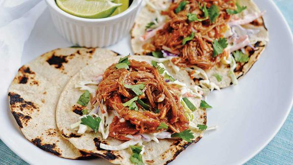 Barbecue pork tacos with honey-mustard slaw