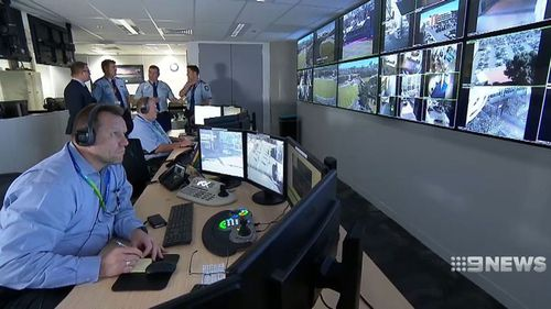The cameras are fed back to a bunker with people monitoring them constantly.