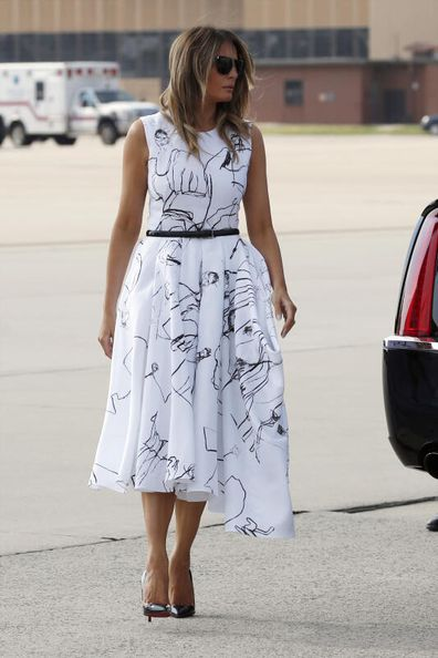 Melanie Trump in her Alexander McQueen dress on the Fourth of July.