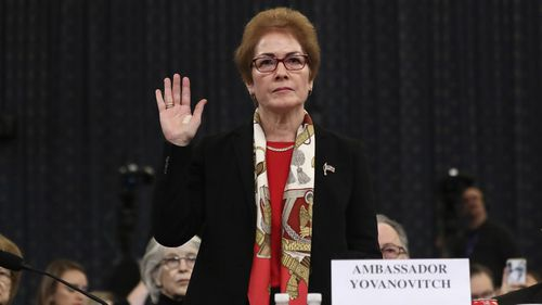 Former U.S. Ambassador to Ukraine Marie Yovanovitch is sworn in to testify to the House Intelligence Committee on Capitol Hill in Washington,