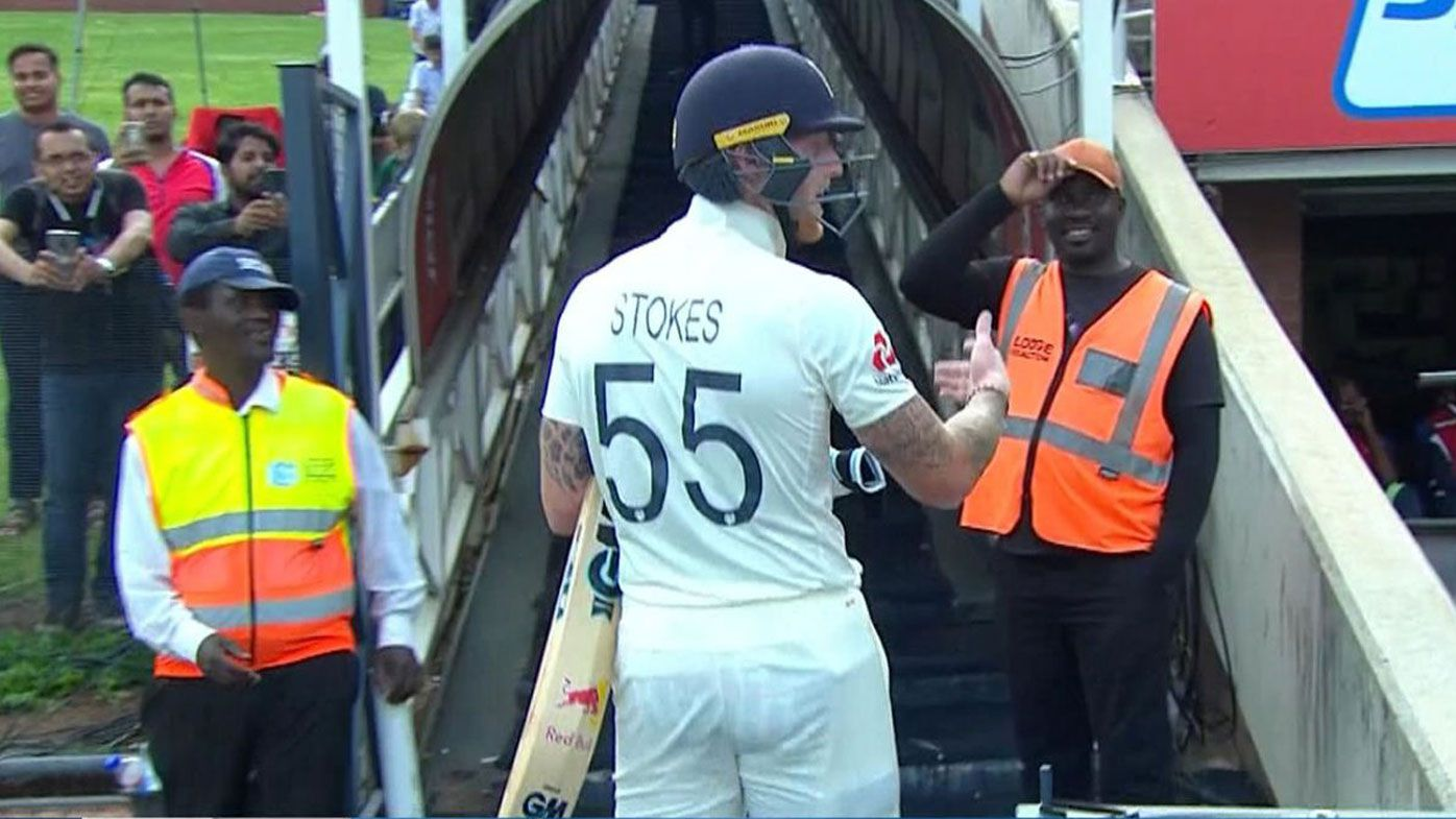 Ben Stokes yells at a fan after he was dismissed