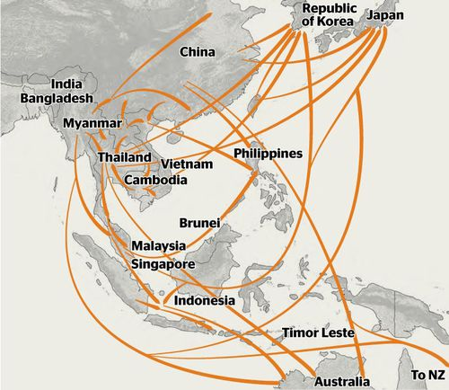 A map showing crystalline methamphetamine trafficking flows in East and South-East Asia.