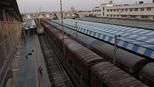 Halted trains in India
