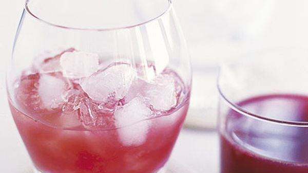Blood orange and strawberry cocktail