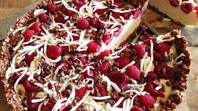 """Recipe:<a href=""""http://kitchen.nine.com.au/2016/05/20/10/28/kara-conroys-raw-coconut-raspberry-cacao-cake"""" target=""""_top"""">Kara Conroy's raw coconut raspberry cacao cake</a>"""