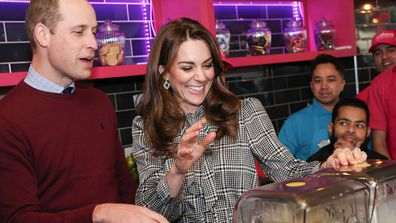 Prince William, Duke of Cambridge and Catherine, Duchess of Cambridge help make Kulfi milkshakes at MyLahore on January 15, 2020 in Bradford, United Kingdom.