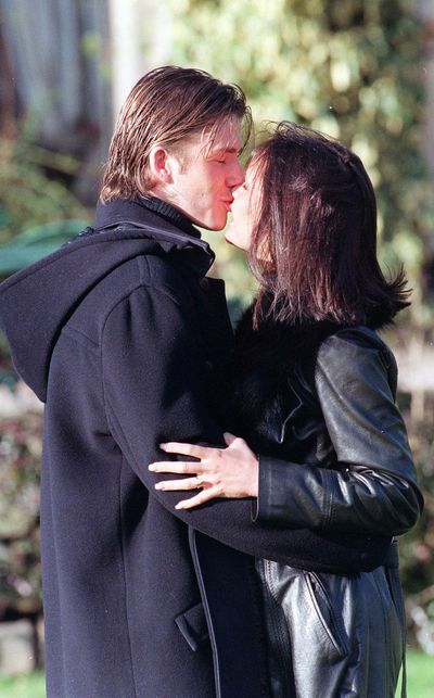 David and Victoria Beckham announce their engagement in January 1998 after one year of dating.
