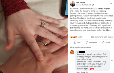 Lee shared the tragic news on Facebook.