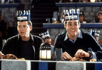 Matthew Broderick and Jim Carrey at Medieval Times in a scene from the film 'The Cable Guy', 1996.