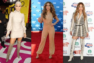 Even one of the world's most desirable women can't get it right every time! Aside from her shimmering, swim-cap dress of '06 (left), our favourite fashion debacle has to be the glitterati jumpsuit JLo wore to the American Idol premiere in 2011 (middle).