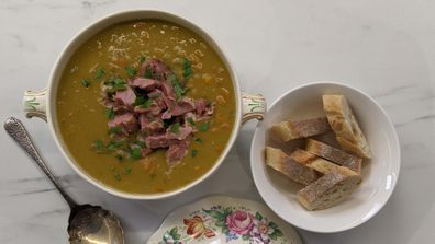 Old school pea and ham soup is like a warm cuddle