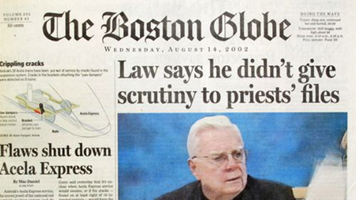The Boston Globe began a series of stories that revealed that Law and his predecessors had transferred child-molesting priests from parish to parish without alerting parents or police in 2002.