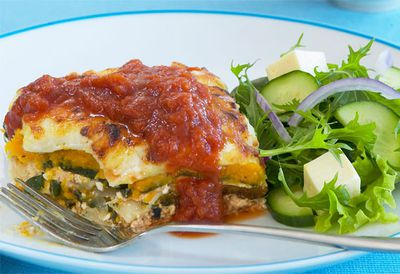Cottage cheese, pumpkin and spinach lasagne