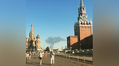 The fire was so big that it was visible from Red Square in the heart of the capital city. (Twitter @usolt)