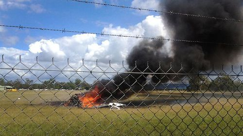 Five people are believed dead after a light plane was incinerated on take-off at Caboolture Airfield in Queensland (Supplied).