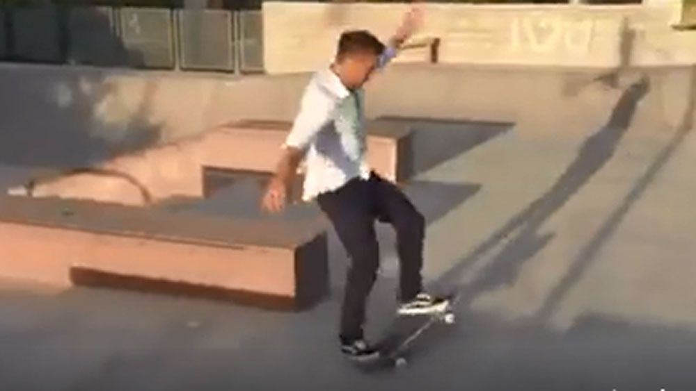 NRL star's high risk skateboard ride