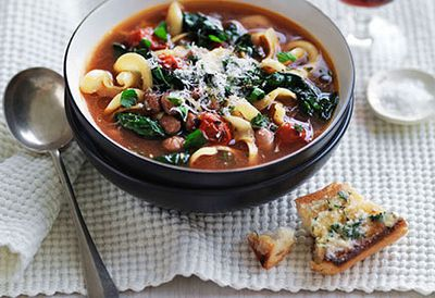 Bean, cavolo nero and pasta soup