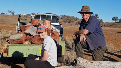 Lillie and Les Jones on their farm in regional NSW.