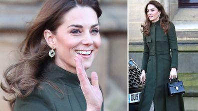 Kate Middleton Duchess of Cambridge wears Alexander McQueen coat dress with Zara dress and Aspinals handbag for Bradford visit