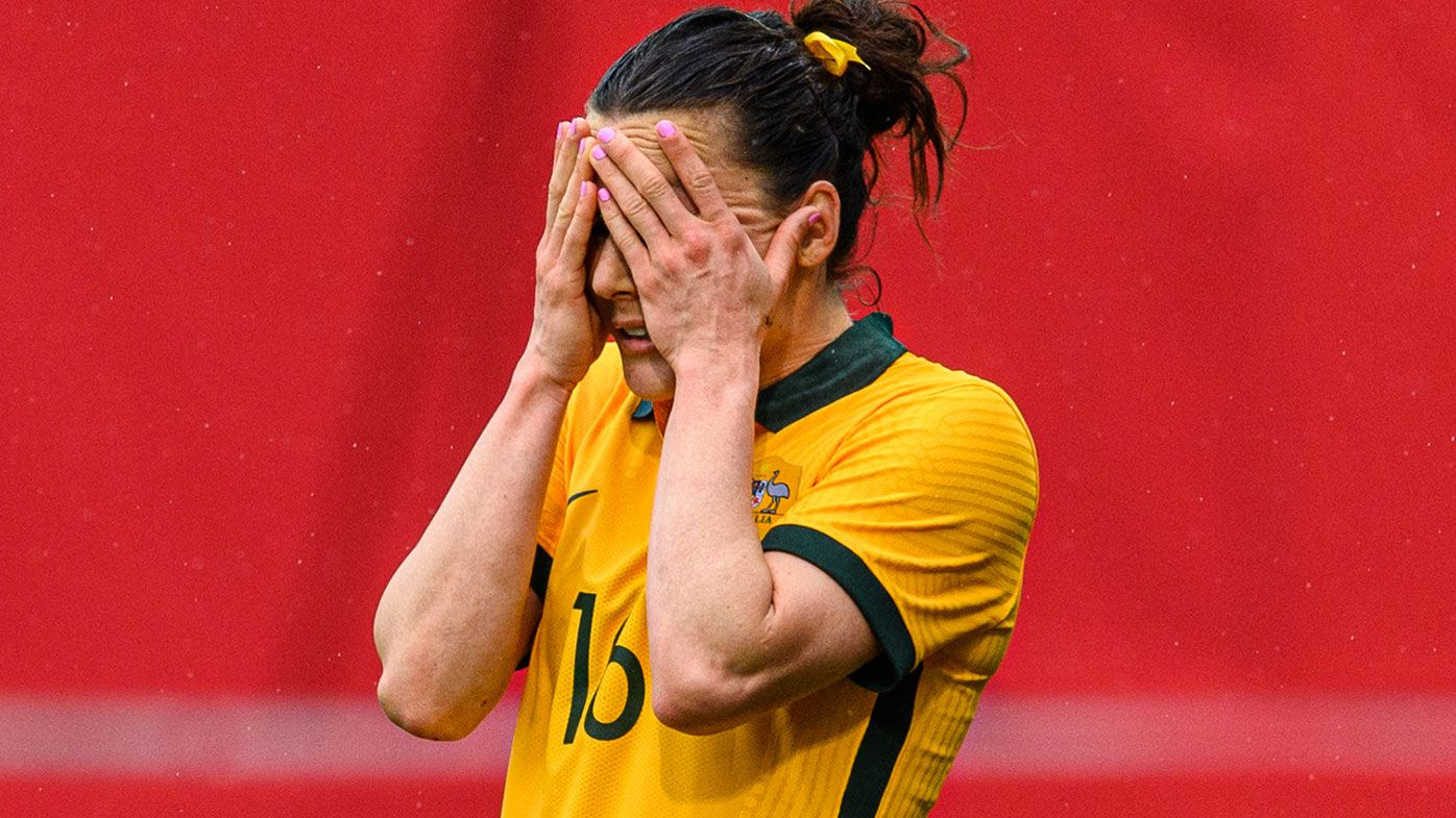 Hayley Raso of Australia looks disappointed after Germany scores their fourth goal during the International Friendly between Germany and Australia at BRITA-Arena on April 10, 2021 in Wiesbaden, Germany. (Photo by Lukas Schulze/Getty Images for FAA)