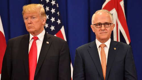 United States President Donald Trump and Australian Prime Minister Malcolm Turnbull are seen at a trilateral meeting
