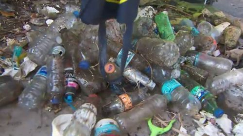 More than a million dollars is spent on removing rubbish from the Yarra each year. (9NEWS)
