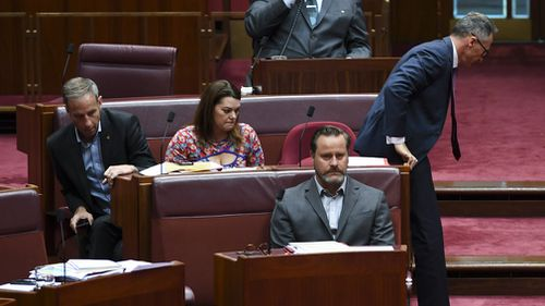 Richard Di Natale leaves the Senate chamber after his suspension.