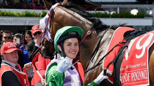 Michelle Payne, in the mounting yard at Melbourne Cup Day. (Photo AAP Images/David Crosling).