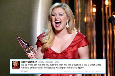 """Kelly Clarkson had a simple explanation for her no-show: she's pregnant!<br/><br/>""""I couldn't go to the Grammys this year because my pregnancy would not allow it,"""" she tweeted. """"Definitely watching from home with the kiddos and @StarletonEnt [Shane Tarleton, Creative Director Warner Bros Records].""""<br/><br/>She live-tweeted throughout the ceremony - our fave Kelly tweet is on the pic to the left!"""