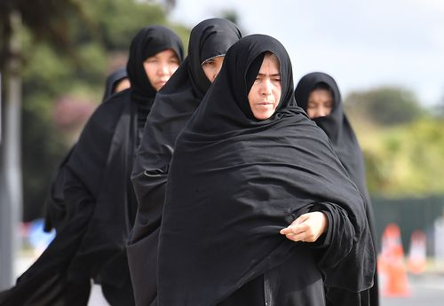 Mourners arrive for the first funerals of the 50 victims of the mosque shootings, at the Memorial Park Cemetery in Christchurch, New Zealand.