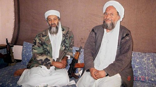 Osama bin Laden sits with his then deputy Ayman al-Zawahiri at an undisclosed location in Afghanistan (AAP)