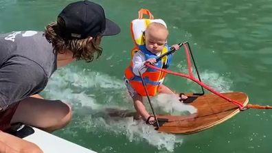 Six-month-old Rich Casey Humpherys water skiing in a video posted to Instagram by his parents