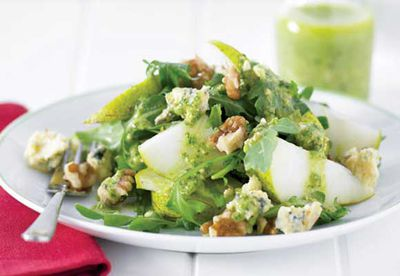Pear and cheese salad with pesto
