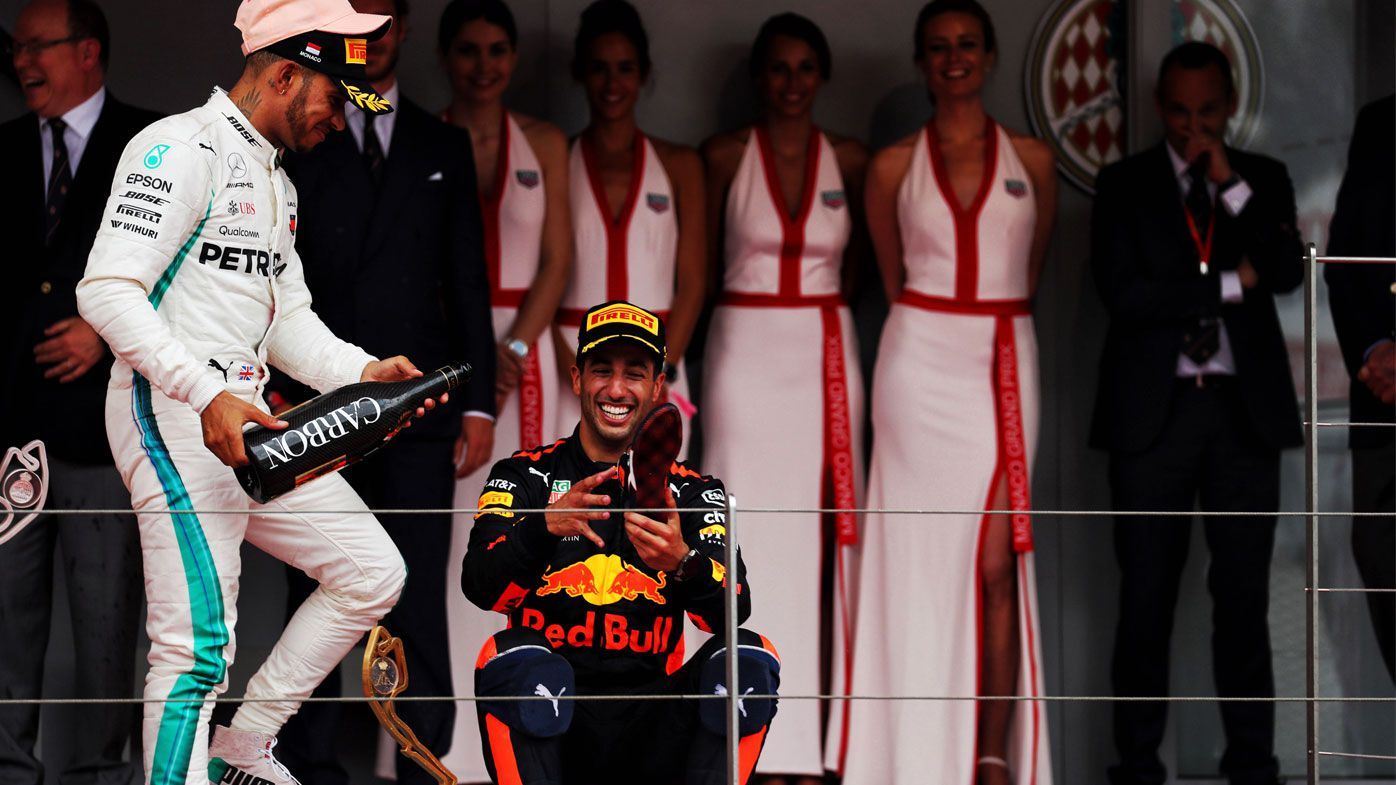 Formula 1: Daniel Ricciardo caps off Monaco GP victory with royal shoey and bellyflop into Red Bull pool