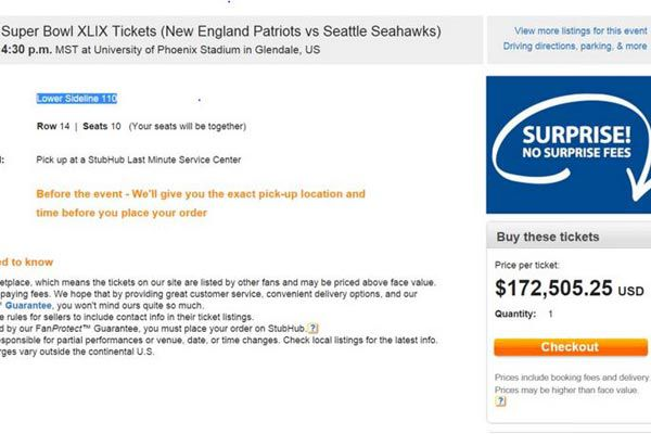 The ticket that was selling on online marketplace StubHub!