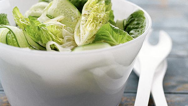 Soused fennel, cucumber and baby cos salad