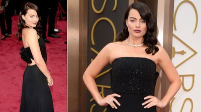 Australia's Margot Robbie turns to the dark side, debuting her new brunette hair at the ceremony