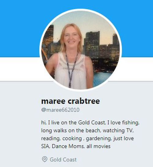 Crabtree introduces herself on Twitter as a lover of fishing, Dance Moms and singer SIA. (Twitter)