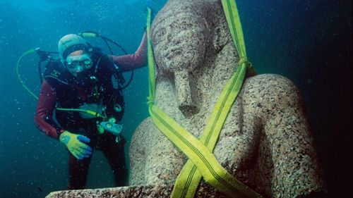 An ancient statue pulled from Heracleion as part of the research.  Picture: Franck Goddio/Hilti Foundation/Christoph Gerigk