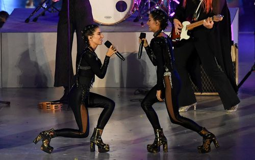Pop duo the Veronicas were among a marathon medley of acts. (AAP)