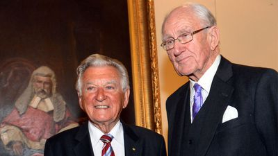 Fraser criticised John Howard's asylum seeker policy. Former Prime Ministers Bob Hawke and Malcolm Fraser, jointly launched the biography of The Rt Hon Sir Ninian Stephen, Fortunate Voyager, in Melbourne, Thursday, Sep. 5, 2013. (AAP)