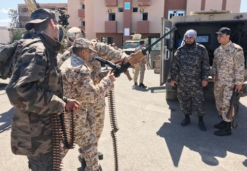 Libyan National Accord Government troops prepare for an operation against eastern Libyan military commander Khalifa Haftar's troops in Al-Falah area of Tripol(Photo by Hazem Turkia/Anadolu Agency/Getty Images)