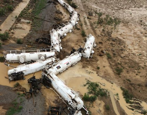 The locomotive and its 26 carriages derailed about 20km from Julia Creek. (Queensland Police Service)