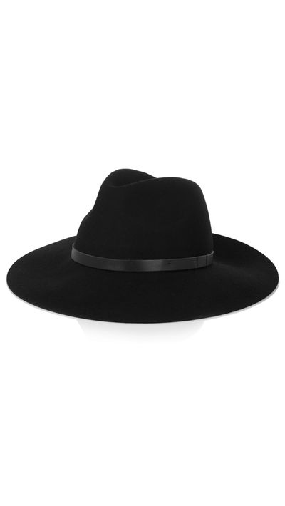 "<a href=""http://www.net-a-porter.com/au/en/product/529248"" target=""_blank"">Mihanna Leather-Trimmed Wool-Felt Fedora, $139.26, By Malene&nbsp;Birger</a><br>"