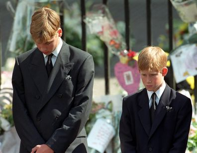 Prince William and Prince Harry at Diana's funeral in 1997.