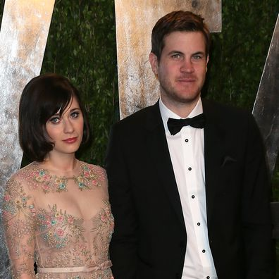Zooey Deschanel and Ben Gibbard attend the Vanity Fair Oscar Party at the Sunset Tower Hotel on February 24, 2013 in West Hollywood, California.