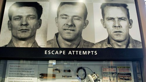 The prison mug shots of, from left, Frank Morris, Clarence Anglin and John Anglin. (Photo: AP).