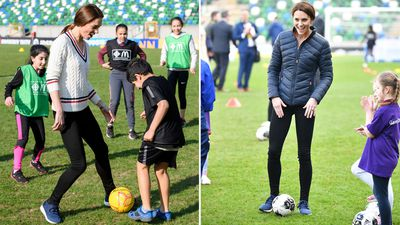 Kate Middleton plays soccer with children in Belfast, February 2019